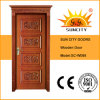 High Quality Rubber Wood Timber Door with Decorative Flower Design (SC-W088)