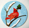Round Winter Bird Paper Coaster (CB11)