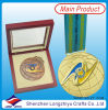 Metal Medals Coins Medal with Ribbon and Wood Box