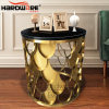 Luxury Mirror Glass Top Stainless Steel Base Cake Table for Party Event