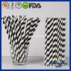 Food Grade Birthday Party Decoration, Black Striped Paper Straw