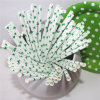 Disposable Party Paper Drinking Straws with Green Star Patten