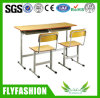 Durable Wood School Furniture Double Desk Set for Classroom (SF-02D)