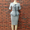 Ruffled High Quality Office Uniform African Tops and Skirt Suit