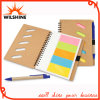 Promotional Gift Hard Cover Kraft Sticky Note Pad with Pen (NP118)