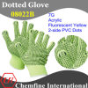 7g Fluorescent Yellow Acrylic Fiber Knitted Glove with 2-Side Black PVC Dots