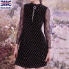Women Black Dress Patched with Lace Long Sleeve