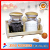 2PC Glass Spice Jar with Wooden Spoon & Wooden Rack