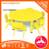 Hot Sale Yellow Study Furniture Plastic Chair and Round Table