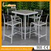 New Design Modern Leisure Coffee Bar Chair and Table Set Outdoor Garden Polywood Aluminum Furniture