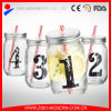 Drinking Jar Decal Glass Mason Jars with Lid and Straw