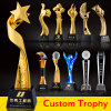 Wholesale Promotion Custom Metal Craft Crystal Trophy Cup Golf Soccer Football K9 Sport Award Acrylic Star Resin Glass Gold Medal Trophy for Souvenir Event Gift