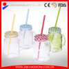 Beverage Mason Jar Drinking Glass with Screw Cap and Straw
