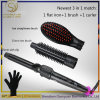 2017 New Arrive Cosmetic Hair Brush and Hair Curler in One Best Quality Hair Straightener Brush and Hair Curling Iron