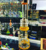 Shining Big Glass Water Smoking Pipe with Three Foot Honey Perc