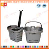 High Quality Plastic Supermarket Shopping Basket with Wheels (ZHb158)