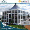 White Fabric Cover 5mx5m Glass Wall Pagoda Tent with Wooden Flooring