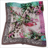 New Design Floral Printed Silk Polyester Logo Scarf (SF-020)