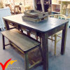 Farmhouse Vintage Industrial Furniture Antique Wood Dining Table with Zinc Top and Bench