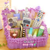 Lovely Fabric and Lace Storage Box, Desktop Storage Box, Rattan Weave Storage Basket