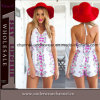 2015 Fashion Lady Flower Printed Backless Rompers Beach Dress (TONY6034)