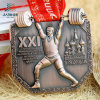 Antique Bronze Zinc Alloy 3D Russia Metal Sports Medallion with Lanyard