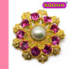 Fashion Jewelry Hot Sale Gold Pearl Rhinestones Brooch 5758