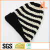 100% Acrylic Fashion Sports Reversible Beanie Striped Knitted Hat
