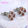 VAGULA Lucky Leaf Rosewood Stainless Steel Cuffs Red Wood Cufflinks 360