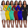 OEM Fashion Sexy Colorful Deep V Long Sleeve Dress