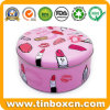 Custom Large Round Tin Metal Cosmetics Box for Makeup