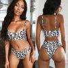 Summer Bikini Women's Solid Color Suit Push-up Unpadded Bra