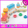 Funny Play Wooden Magnetic Train Pull Toy for Kids, Children Toy Train Educational Pull Cart Wooden Block Train W05c022