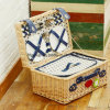 Canton Fair Wholesale Wicker Handled Colored Rectangle Picnic Basket with Natural Color