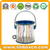 Transparent Plastic PVC Tin with Metal Handle for Chocolate Candy