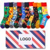 Good Quality Comfortable Custom Cotton Crew Happy Men Socks with Box Packing