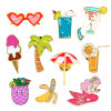Cocktail Ice Cream Crystal Banana Tree Sunglasses Beach Umbrella Brooches