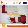 Cow Grain Leather Gloves with Full Palm Red Cotton Drill Back Rubberized Cuff
