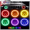 Waterproof IP67 High Power 7 Inch 50W RGB Headlight for Jeep Wrangler Headlight High and Low Beam LED Round Headlight with RGB Halo Ring