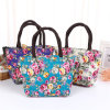 Fashion Flower Printing Canvas Lunch Bag Women Portable High Capacity Handbag Lunch Shoulder Messenger Crossbody Tote Bag