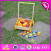 2015 High Quality Wooden Baby Walker Pull Cart Toy, Kids Wooden Pull Cart Learning Toy, Wooden Baby Cart Toy with Blocks W16e017