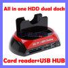 "All in One 2.5"" 3.5"" IDE/SATA HDD Dual Dock Docking Station USB Hub Card Reader"