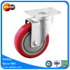 "4"" Red PU Material Handling Wheel with Swivel Plate"