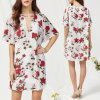 Fashion Women Leisure Casual Flower Printed V-Neck Dress
