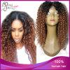 Ombre 1b#/30# Kinky Curly Peruvain Virgin Hair Silk Top Wig
