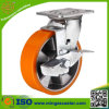 Side Brake Caster Polyurethane Aluminum Wheel