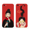 Fashion Style Girl Pattern Soft TPU Chinese Red Phone Case for iPhone 6/6s/7/7plus