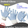 7g White Polyester/Cotton Knitted Glove with 2-Side Blue C-Shape PVC Dots
