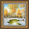 Handmade Landscape Yellow Tree Oil Painting with Gold Frame