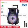 15inch Plastic Trolley Speaker with Rechargeable Battery NFC Wireless Mic Fy-15